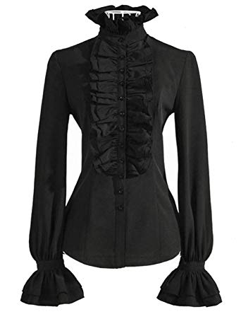 PrettyGuide Women Retro Stand-Up Collar Lotus Ruffle Victoria Shirts