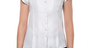Marilyn Linen Cap Sleeve Blouse With Stand-Up Collar- White u2013 Marilyn's