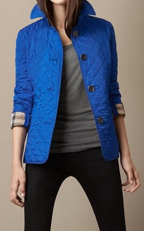 Royal Blue Burberry Quilted Jacket - $352 | apparel