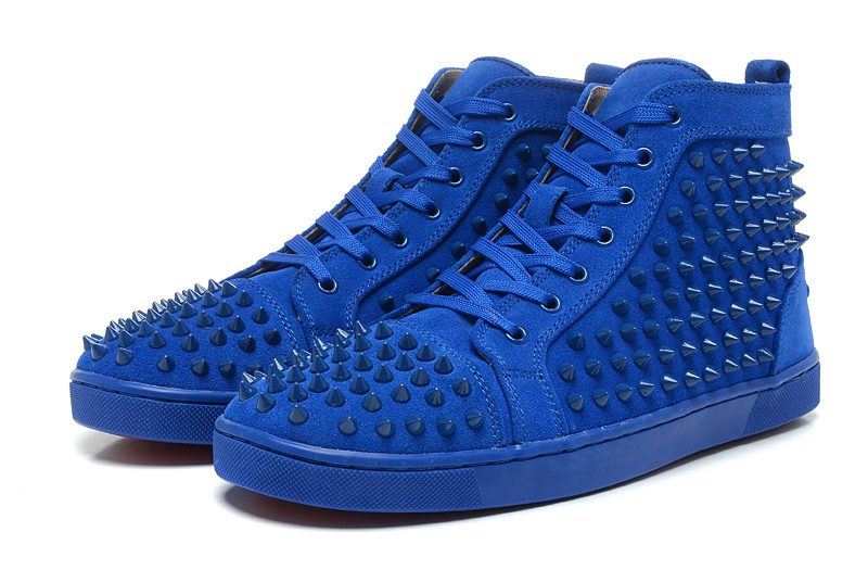 Red bottom Lou Sneakers Spikes men/women shoes blue suede leather