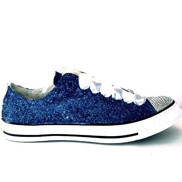 Navy Blue Glitter Converse All Stars shoes wedding bride sneakers