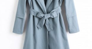 41% OFF] 2019 Longline Skirted Belted Trench Coat In STONE BLUE L