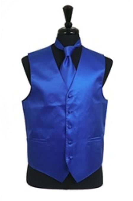 Horizontal Rib Pattern Vest Tie Set Royal Blue
