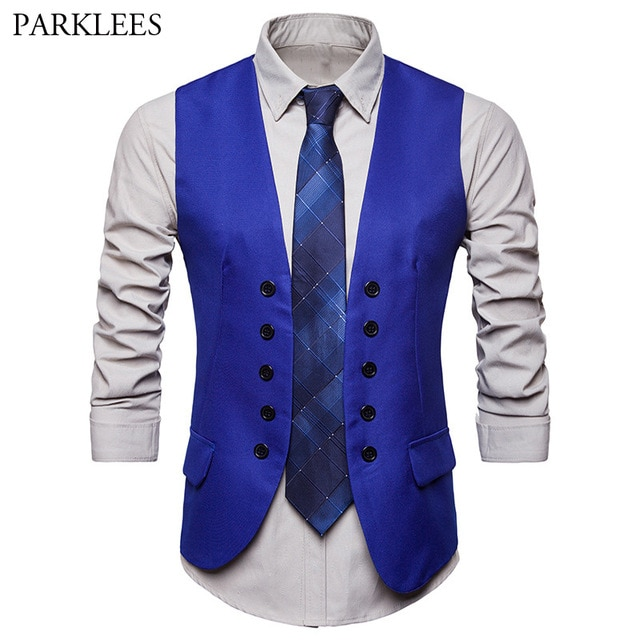 Men's Fashion Royal Blue Suit Vest 2018 Brand New Double Breasted