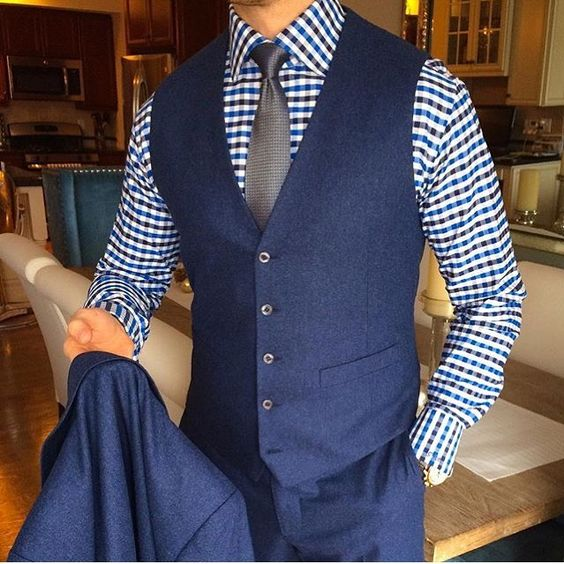 2017 Autumn Winter Navy Blue Vests For Men Slim Fit Groom Vest