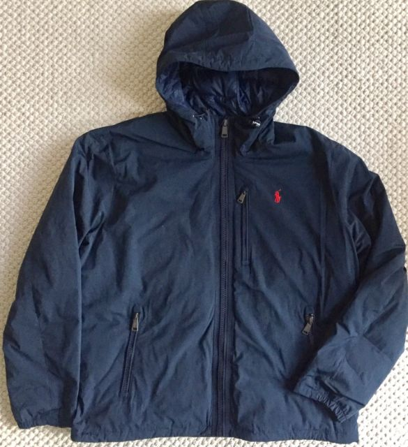 XL Polo Ralph Lauren Mens Hooded Down Anorak Winter Jacket Coat Navy