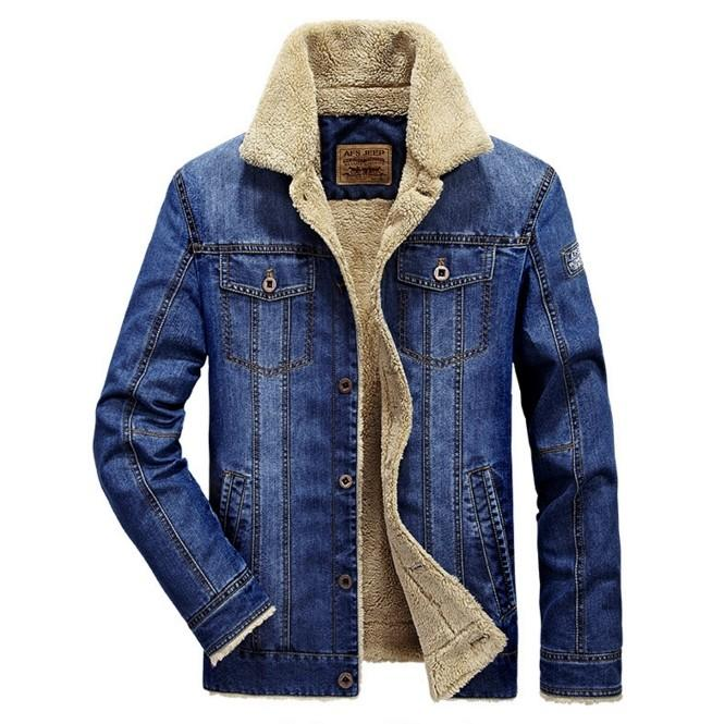 Men'S Fashion Plus Wool Denim Jacket Field Jeep Leisure And