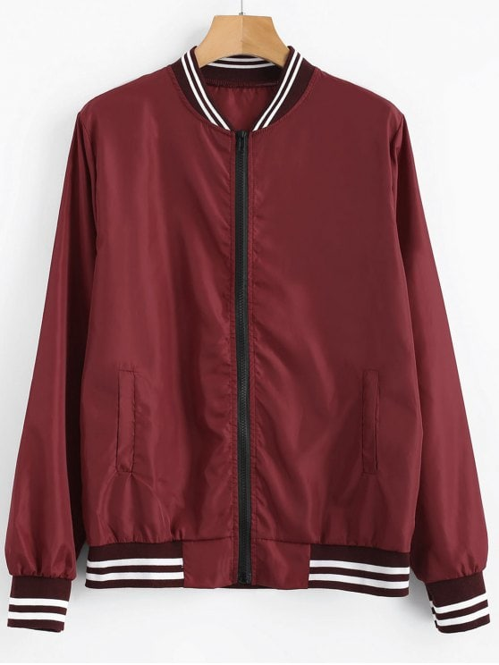 41% OFF] 2019 Zip Up Light Bomber Jacket In RED WINE M | ZAFUL