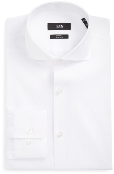 BOSS Jason Slim Fit Solid Stretch Dress Shirt, $148 | Nordstrom