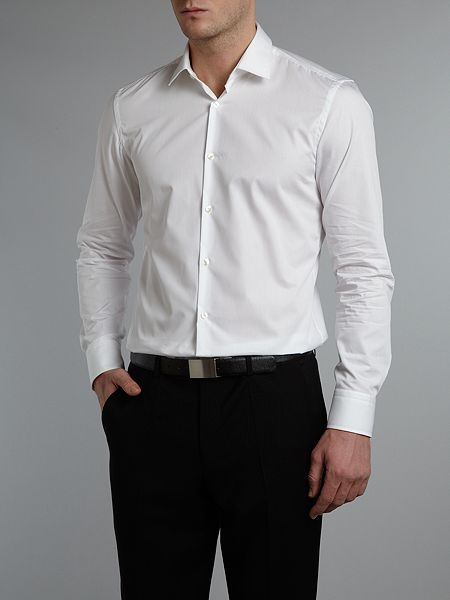 2018 Men Hugo Boss Slim Shirt White Fit Jenno In Shopping