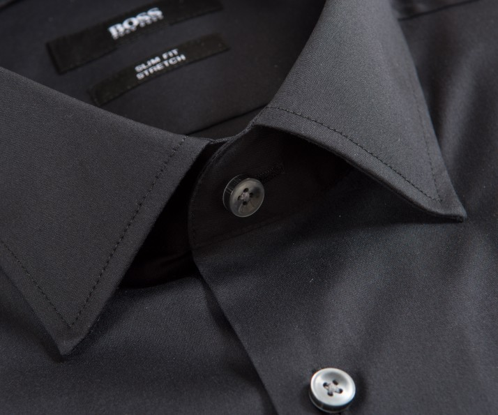 Hugo Boss 'Jenno' Slim Fit Stretch Plain Shirt Black