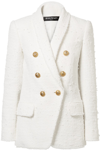 Balmain Double-breasted bouclé-tweed blazer White Women Clothing