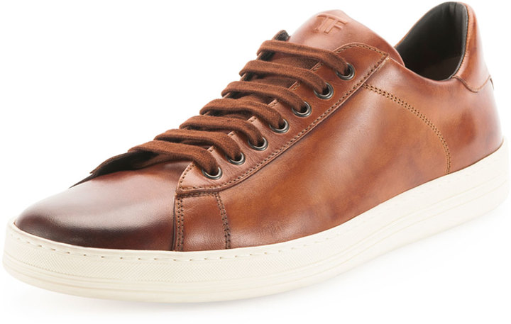Tom Ford Russel Calf Leather Low Top Sneaker Light Brown, $890