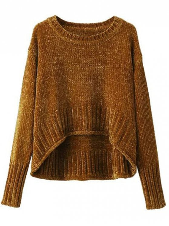 34% OFF] 2019 Chenille Oversized Jumper In GOLD BROWN S | ZAFUL
