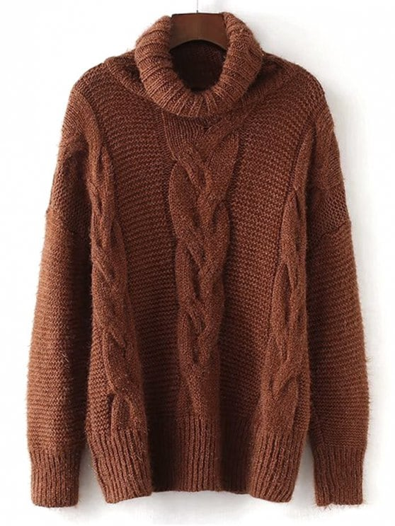 39% OFF] 2019 Textured Turtleneck Cable Knit Sweater In BROWN ONE