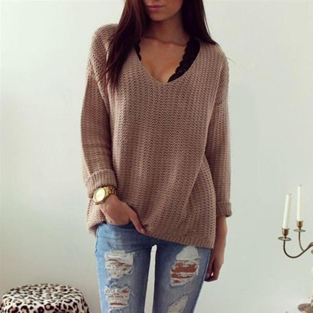 2016 Hot Women Brown Sweaters V Neck Long Sleeve Casual Pullover