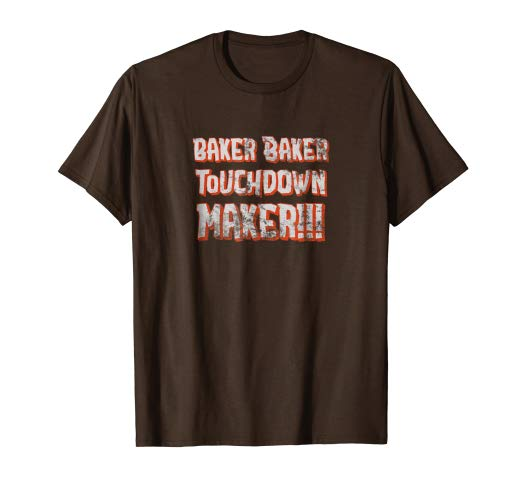 Amazon.com: Baker Baker Touchdown Maker Orange & White on Brown T