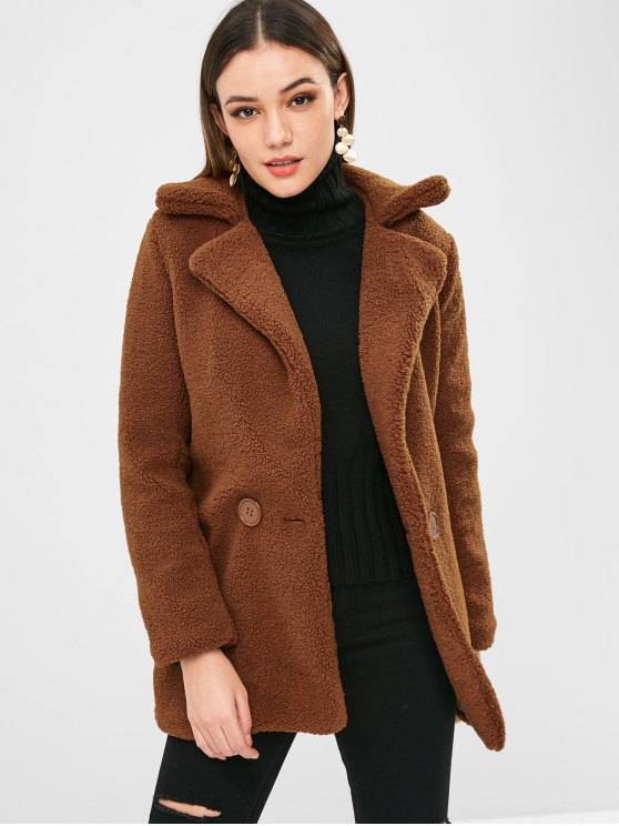 33% OFF] 2019 Double Breasted Faux Fur Winter Coat In BROWN M | ZAFUL