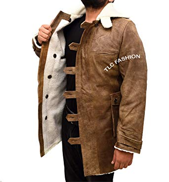 TLCFashion Bane Distressed Brown Bomber Jacket-Winter Shearling Coat