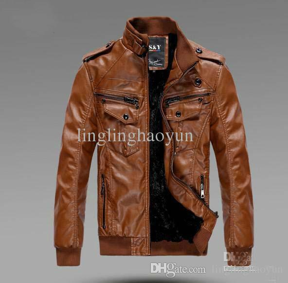 Men'S PU Locomotive Leather Jacket Coat Thickening Fur Outerwear