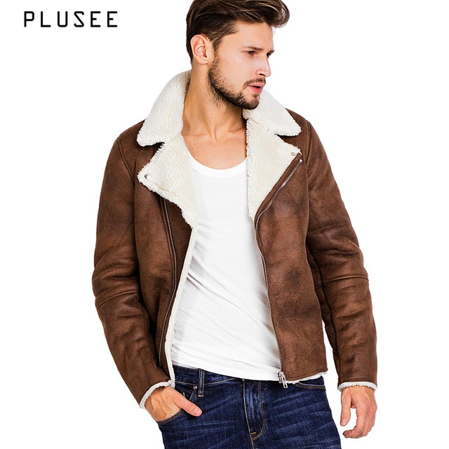 Plusee faux suede jacket for men brown winter leather jacket pocket