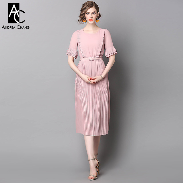spring summer runway designer womans dresses pink calf length dress