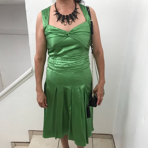 WD.NY Dresses | Wdny Green Silk Mid Calf Length Dress | Poshmark