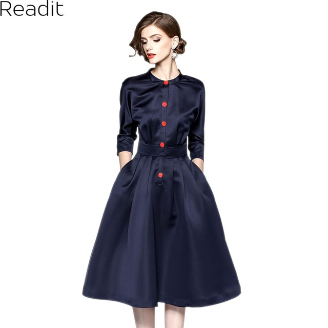 Readit Big Pendulum Dress 2017 Autumn Dress Dark Blue Over Knee Calf