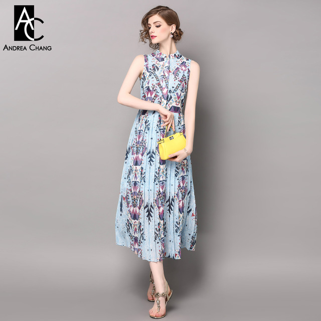 spring summer runway designer womans dresses sky blue calf length