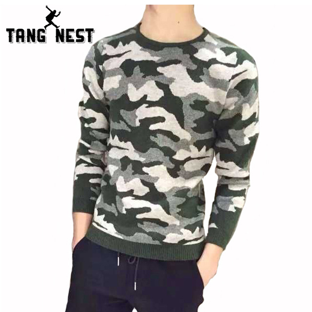 TANGNEST Camouflage Sweater Men 2019 Autumn Winter Men's Casual