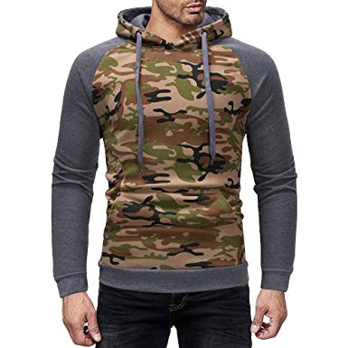 Amazon.com: Mens Hoodies,Cool Camouflage Hooded Pullover Spliced