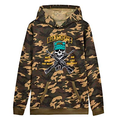 Men's Camo Hoodie Sweater Ranger Hunting Camouflage Print Long