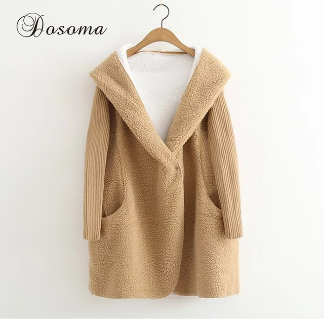 Berber Fleece Hooded Long Cardigans Women Autumn Loose Long Sleeve V