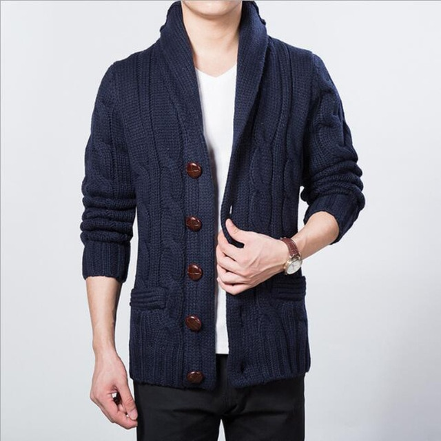 Korean Fashion Wooden Button Winter Male Cardigan Sweater Men Shawl