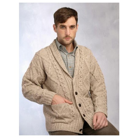 100% Merino Wool Aran Shawl Collar Grandfather Cardigan, Oatmeal