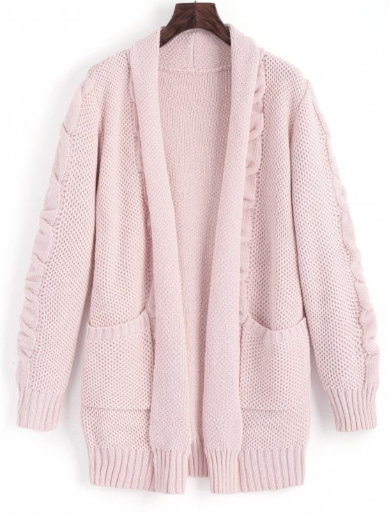 59% OFF] 2019 Shawl Collar Cable Knit Cardigan In PINK L | ZAFUL