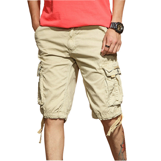 2018 Summer Cargo Shorts Men Solid Cotton High Quality Military