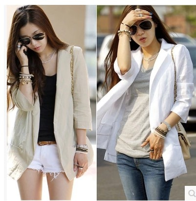 2015 New summer casual blazer fluid women's linen suit outerwear