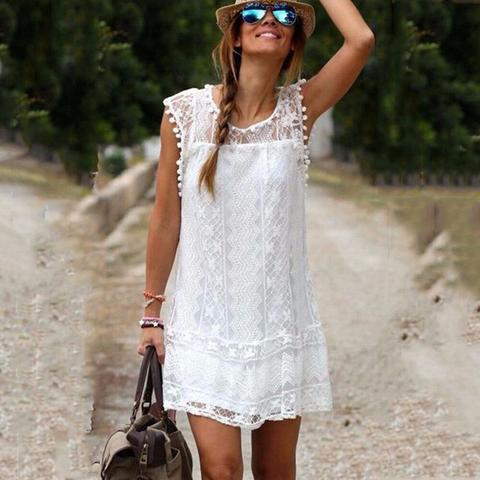 Summer Dress 2019 Women Casual Beach Short Dress Tassel Black White