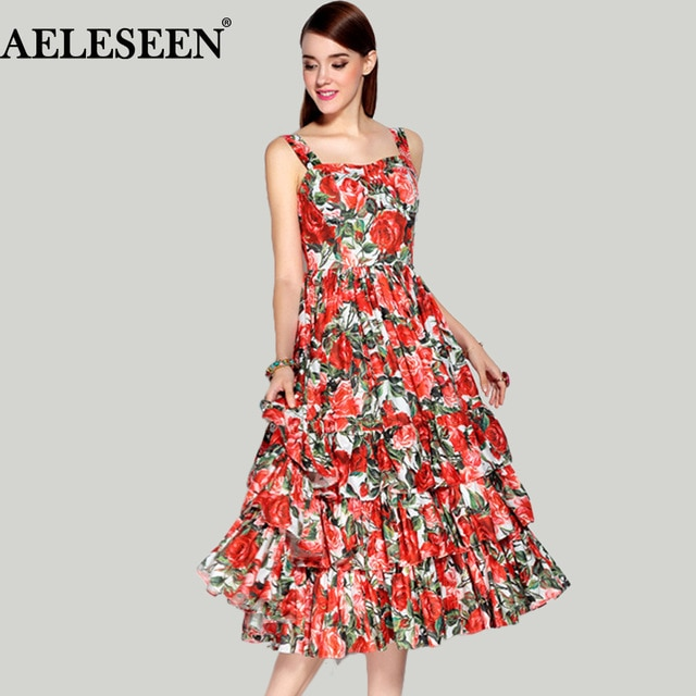 Vintage Elegant Dresses 2019 Spring Summer Fashion Red Print Ladies