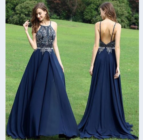 spaghetti straps navy chiffon long cheap prom dress u2013 BSBRIDAL