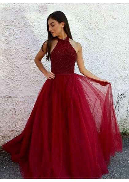 Cheap A-Line/Princess Burgundy Tulle Backless 2019 Prom Dresses