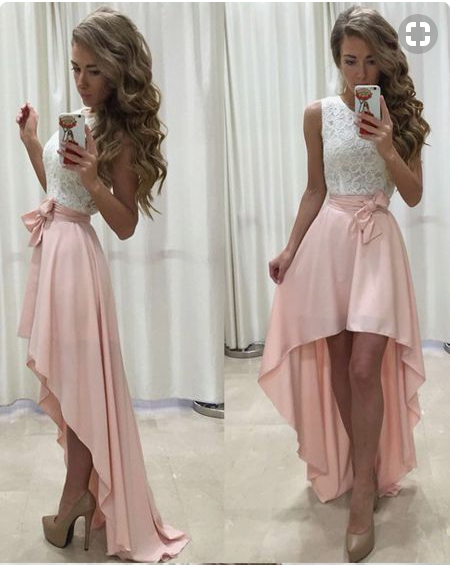 Sleeveless Lace Chiffon Straps A-line Hi-Lo Newest Prom Dress Cheap