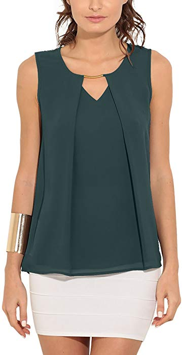 Eliacher Women Summer Casual Sleeveless Tops Shirts Front Pleated