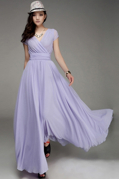 Women's Elegant Fashion Maxi Surplice Chiffon Dress - OASAP.com
