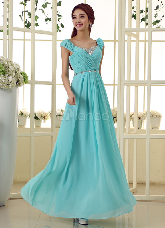 Blue Scoop Neck Sleeveless Beading A-line Chiffon Fashion Prom Dress
