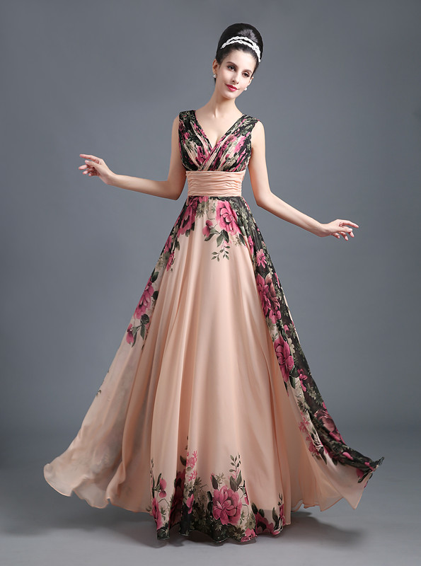 New Fashion Print V-Neck Sleeveless Long Chiffon Summer Prom Dress