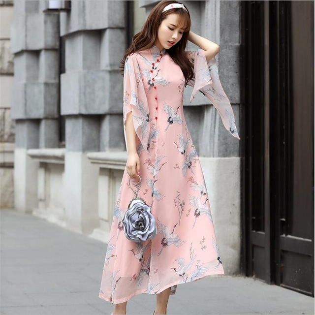 2019 Fashion Modern Ao Dai Dresses Women Traditional vietnam chiffon