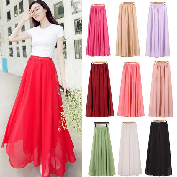Buy Wholesale Women Chiffon Long Skirts Candy Color Pleated Maxi