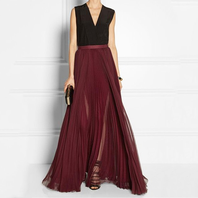 Burgundy Chiffon Maxi Skirts Pleated Women Skirts A line Floor